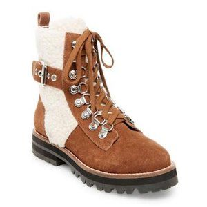 new Steve Madden Leather Boots w.Faux Shearling 10